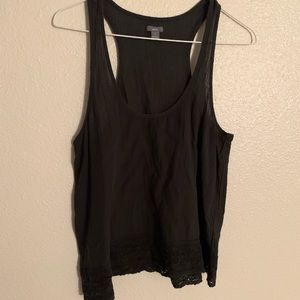 AERIE | Racerback Tank W/Lace Detail Charcoal